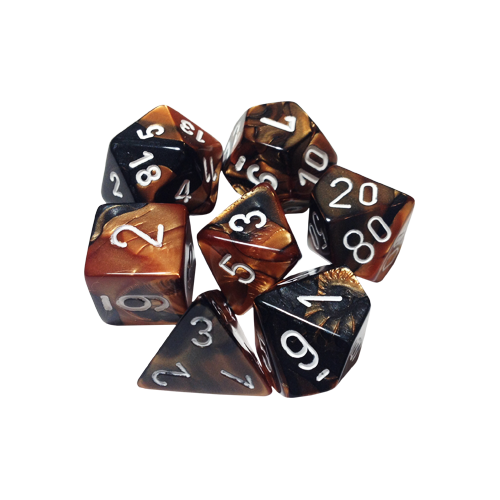 Набор кубиков Chessex Gemini™ Black-Copper with White (7шт.)