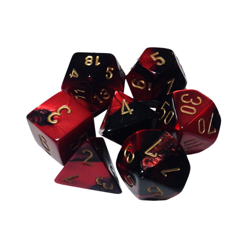 Набор кубиков Chessex Gemini™ Black-Red with Gold (7шт.)