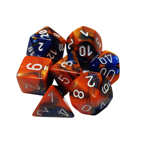 Набор кубиков Chessex Gemini™ Blue-Orange with White (7шт.)