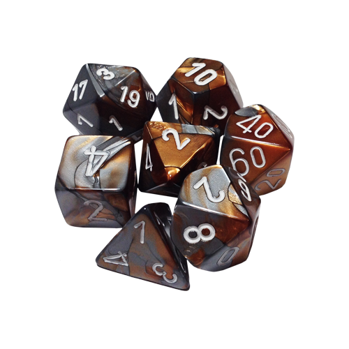 Набор кубиков Chessex Gemini™ Copper-Steel with White (7шт.)