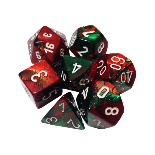 Набор кубиков Chessex Gemini™ Green-Red with White (7шт.)