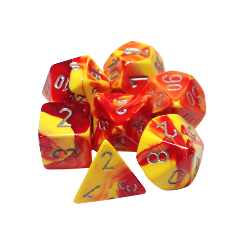 Набор кубиков Chessex Gemini™ Red-Yellow with Silver (7шт.)