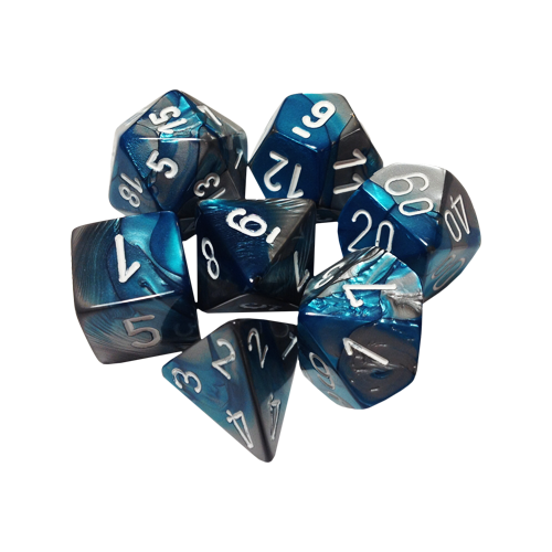 Набор кубиков Chessex Gemini™ Steel-Teal with White (7шт.)