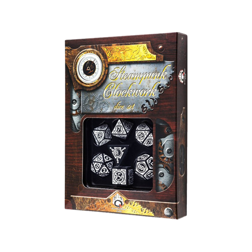Набор кубиков Steampunk Clockwork Dice Set Black/White
