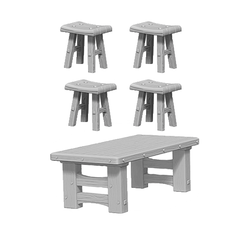 Набор Миниатюр Pathfinder Deep Cuts Unpainted Miniatures - Wooden Table & Stools